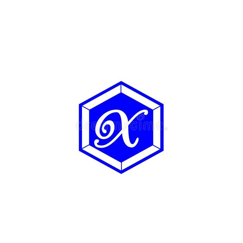 Письмо x в цвете шестиугольника голубом для элемента письма логотипа дизайна компании клеймя иллюстрация штока