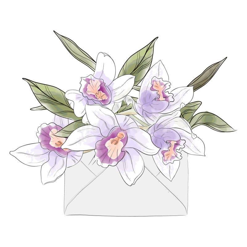Письмо цветка с орхидеями акварели Приглашение элегантной руки вектора вычерченное Эскиз цветения лета роскошный Карта дня женщин иллюстрация вектора