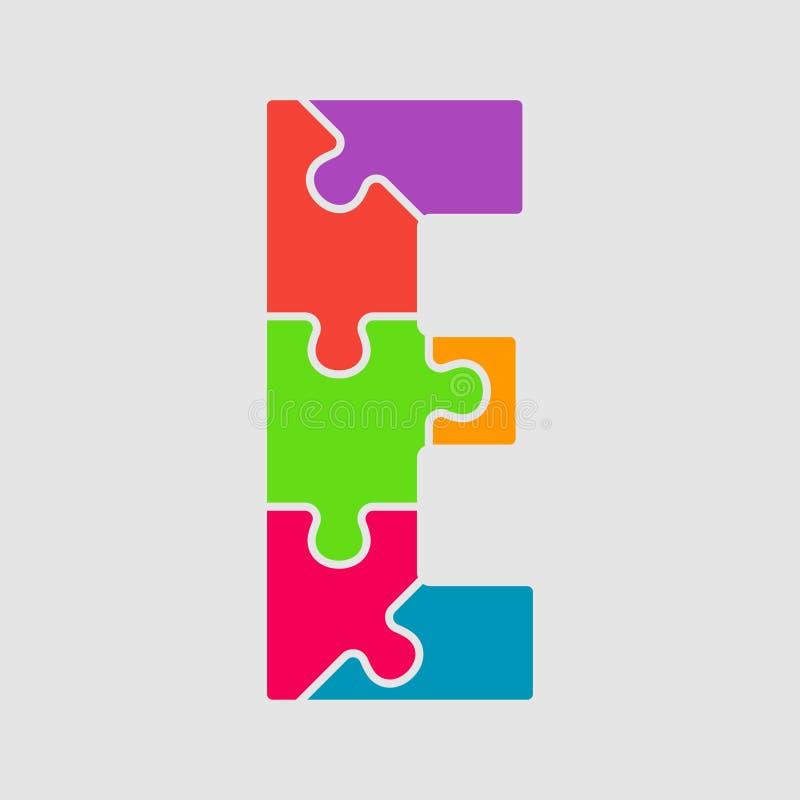 Письмо части головоломки цвета шрифта зигзага вектора - e бесплатная иллюстрация