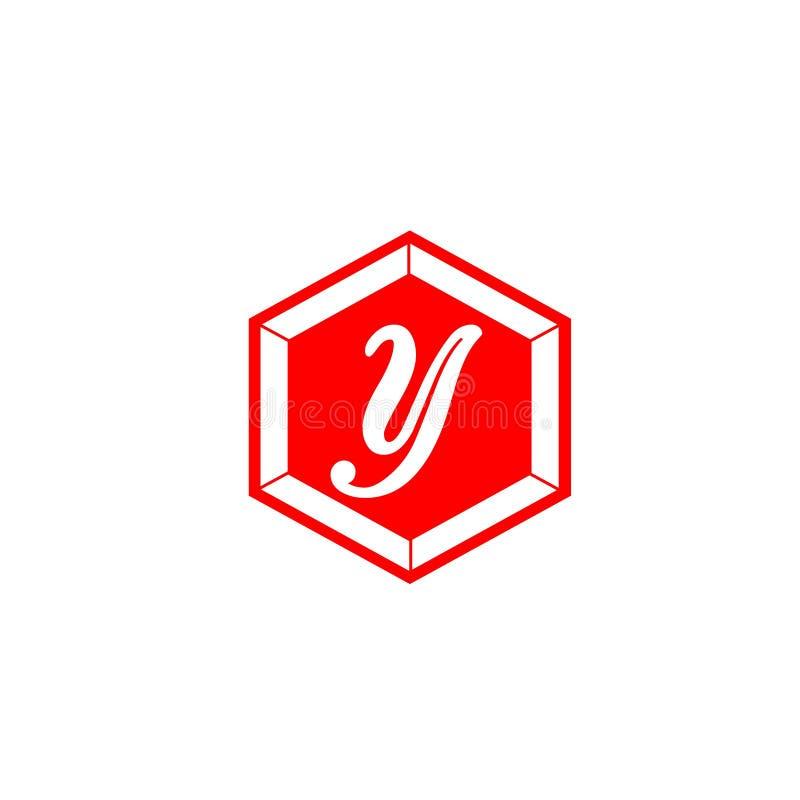 Письмо y в цвете шестиугольника красном для элемента письма логотипа дизайна компании клеймя бесплатная иллюстрация