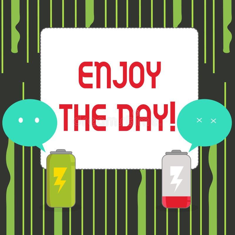 Пишущ показ примечания насладитесь днем Время счастливого образа жизни наслаждения фото дела showcasing расслабляющее иллюстрация вектора