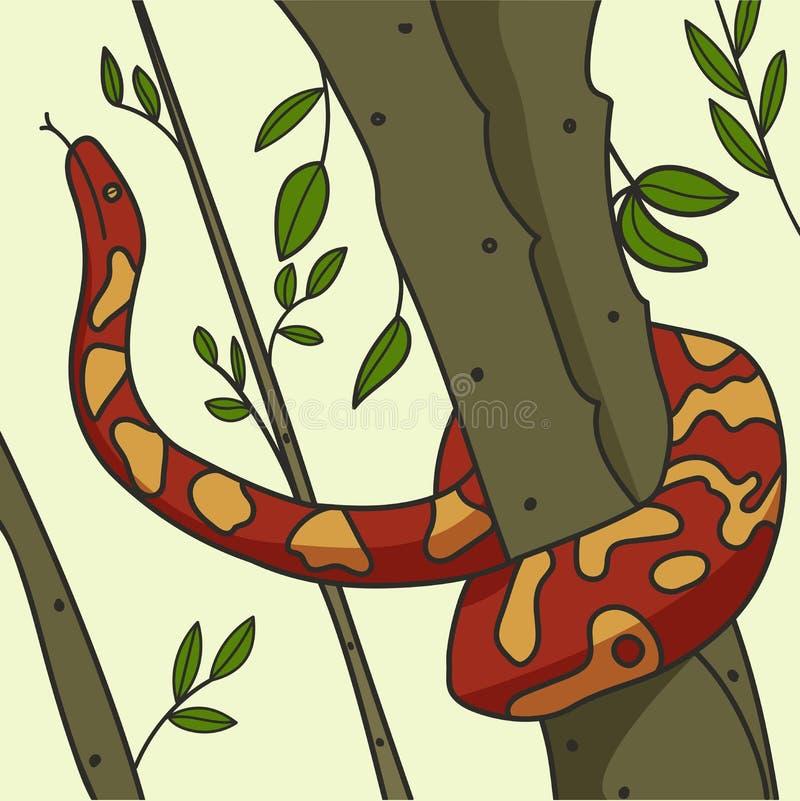 Питон завитый вокруг дерева в векторных графиках леса бесплатная иллюстрация