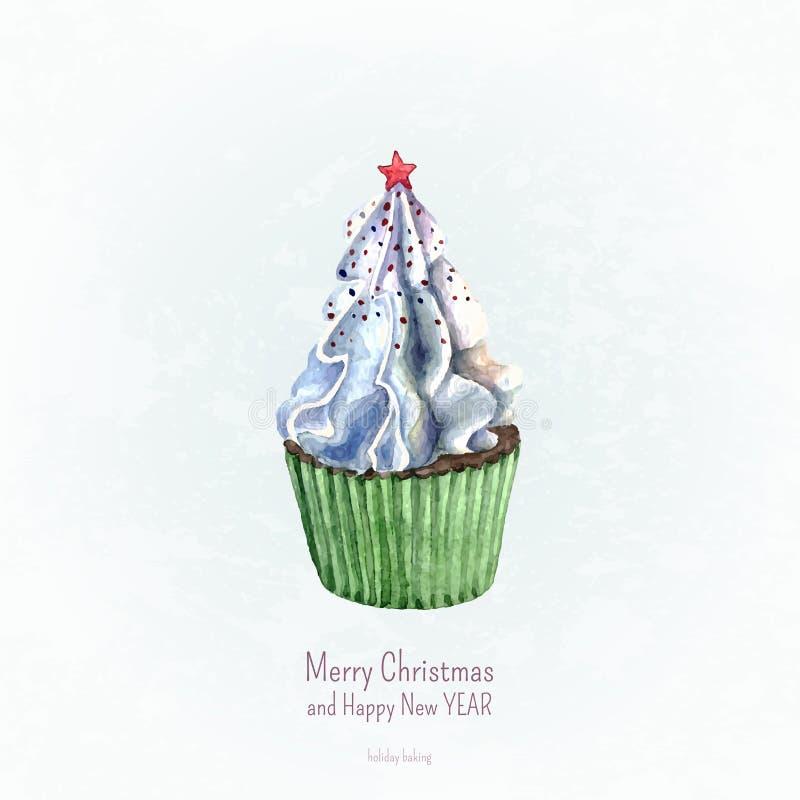 Пирожное акварели Новый Год рождества карточки иллюстрация штока