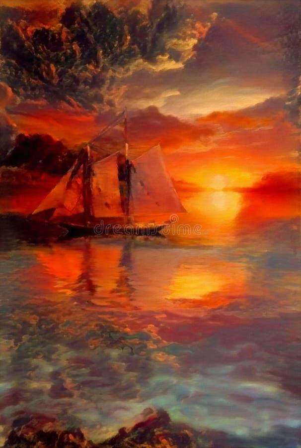 Плавание захода солнца иллюстрация вектора