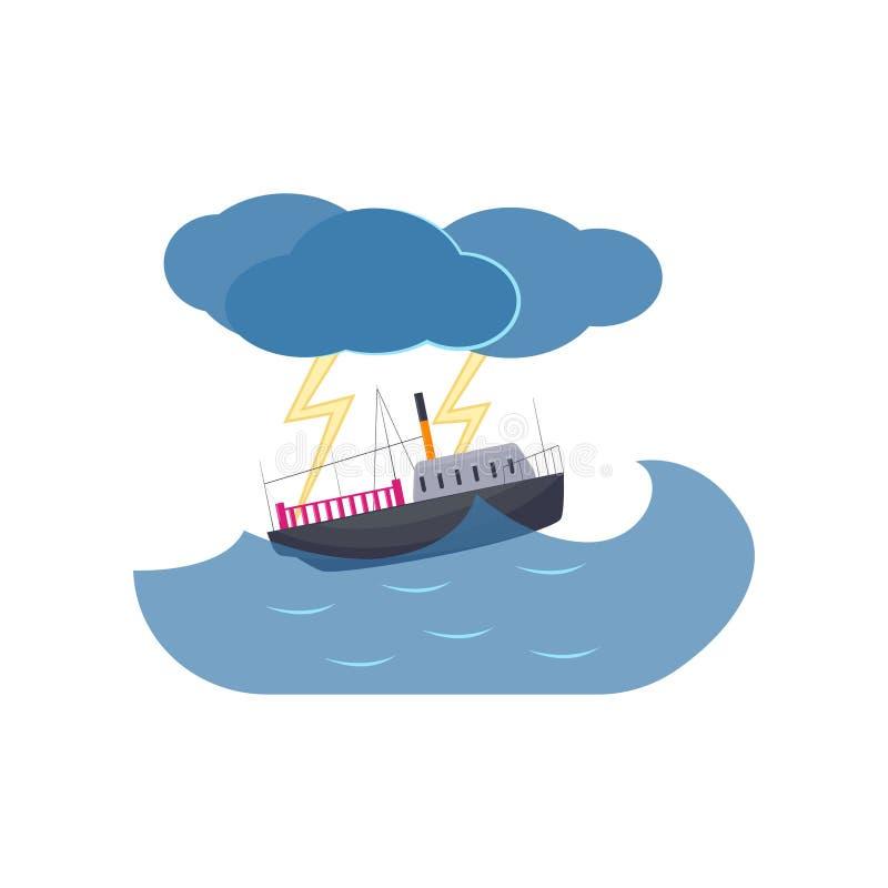 Плавание корабля в грозе и молнии моря изолированных на белой предпосылке иллюстрация вектора