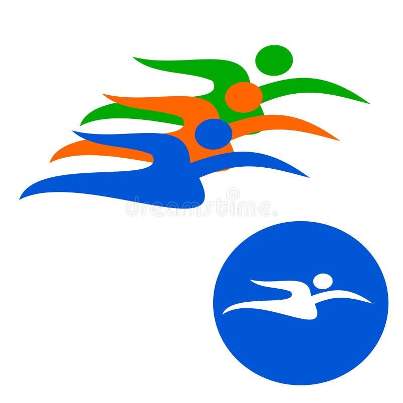 Плавание логотипа чертежа вектора, пловцы, спорт иллюстрация штока