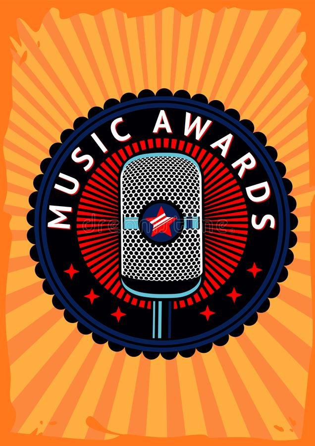 Плакат вектора наград музыки Эмблема состязания с микрофоном Выставка таланта Стойте вверх событие предпосылки иллюстрация штока