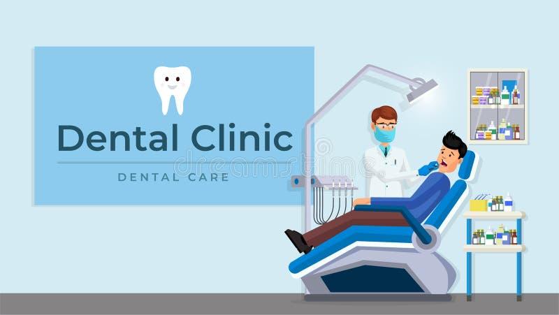 Плакат зубоврачебной комнаты клиники внутренний плоский бесплатная иллюстрация