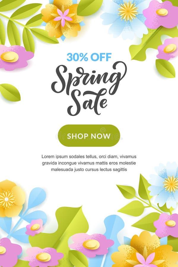 Плакат продажи весны, знамя Дизайн поздравительной открытки праздника вектора Бумажная иллюстрация стиля цветков и листьев иллюстрация штока