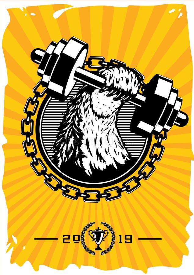 Плакат спортивного клуба винтажный с dumbell Ретро эмблема спортзала с животной лапкой Печать футболки стиля вектора иллюстрация вектора