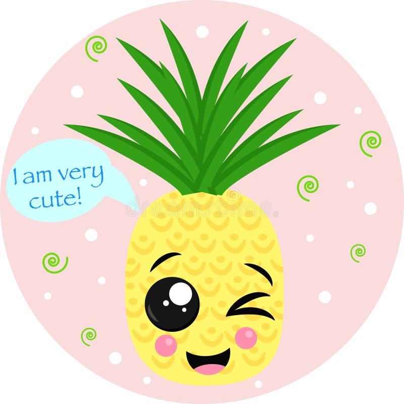 Плакат с милой иллюстрацией вектора ананаса, eps иллюстрация штока