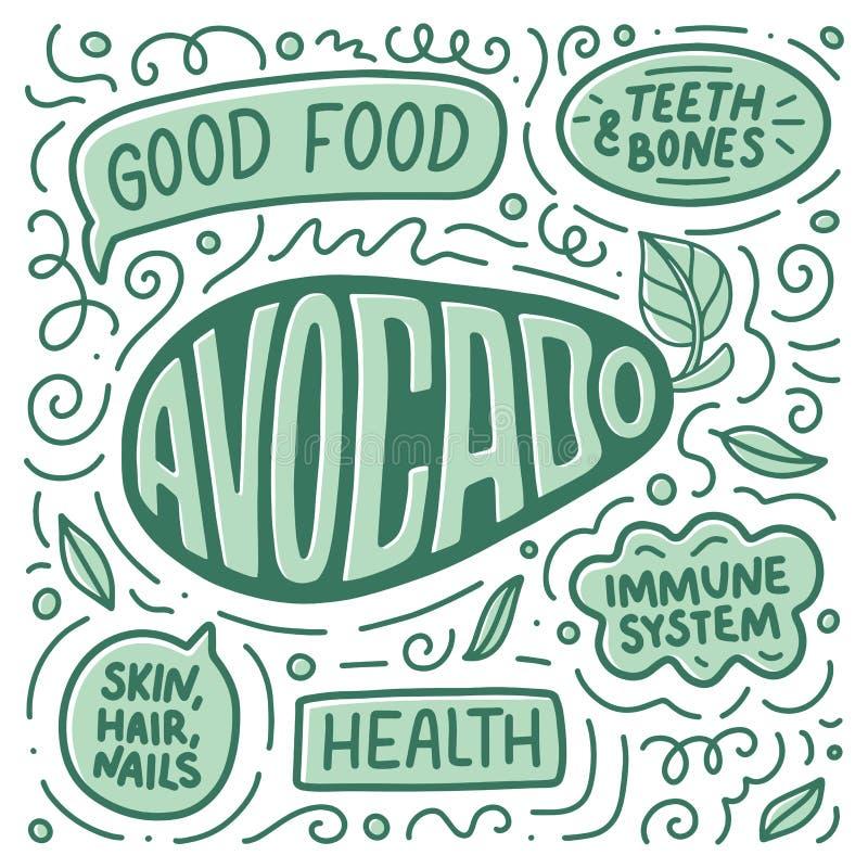 Плакат Doodle с литерностью овощи шнура еды cauliflowers морковей фасолей естественные com алтернативы colldet10709 colldet10711  иллюстрация вектора