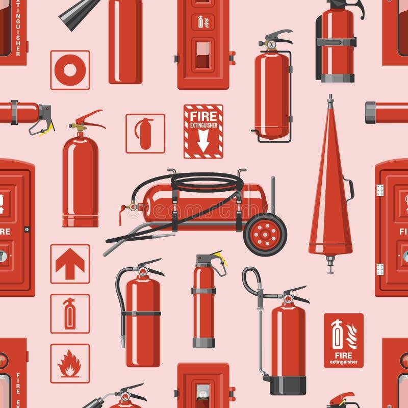 Пламегаситель вектора огнетушителя к для безопасности и защите для того чтобы потушить комплект иллюстрации огня  иллюстрация вектора