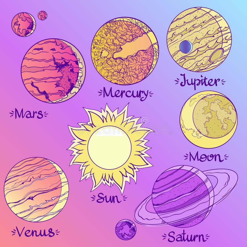 Планеты иллюстрации солнечной системы Планеты и спутники astrix иллюстрация вектора