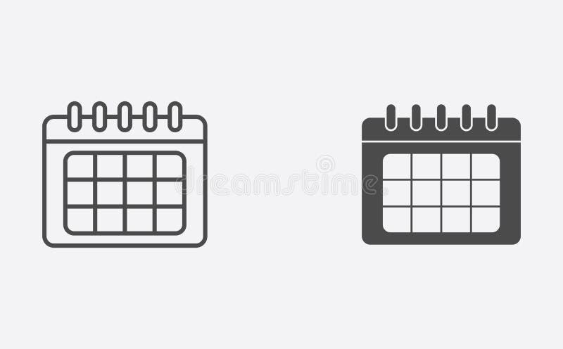 План календаря и заполненный символ знака значка вектора иллюстрация вектора