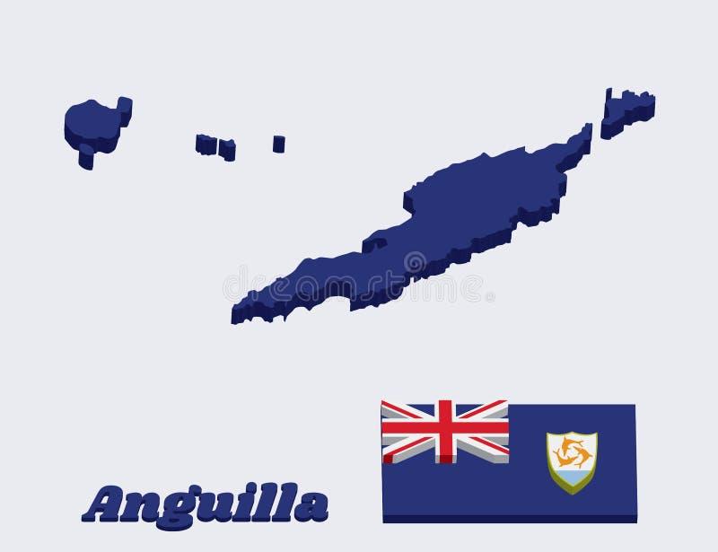 план карты 3D и флаг Ангильи, голубого Ensign с великобританским флагом в кантоне, порученном с гербом Ангильи внутри бесплатная иллюстрация