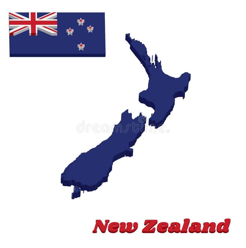 план карты 3D и флаг Новой Зеландии, голубой Ensign с южным крестом 4 бело-окаимили красные центризованные пятиконечные звезд бесплатная иллюстрация