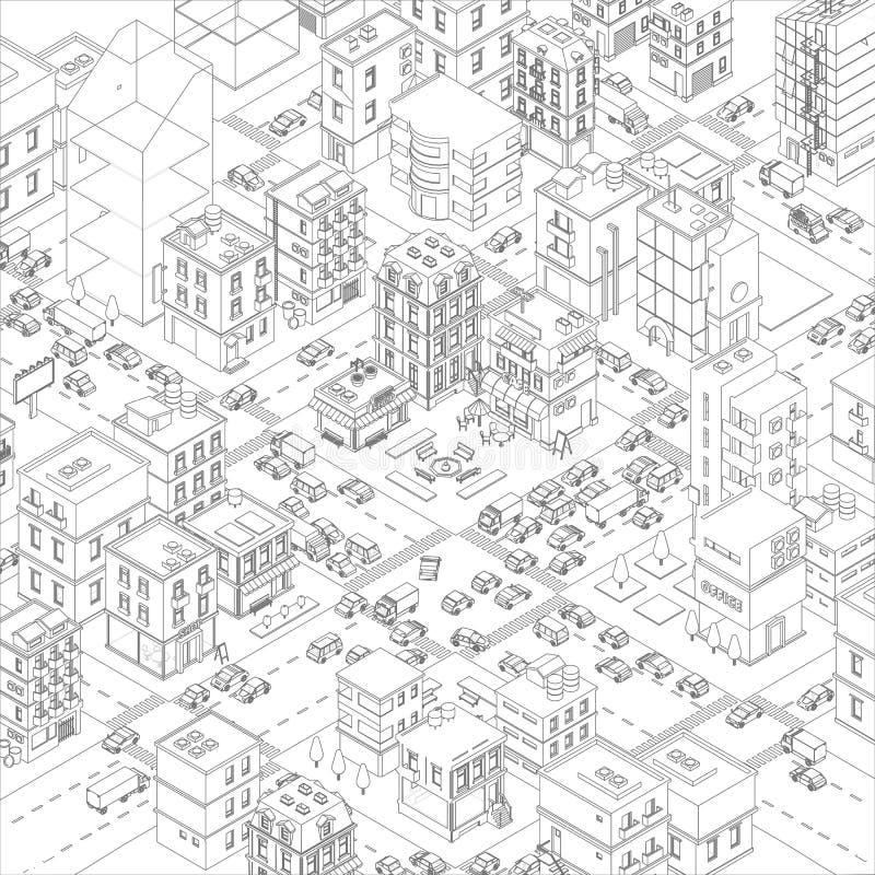 План пересечения улиц города городка вектора Взгляд сверху зданий и дороги мультфильма Серые линии конспектируют стиль контура бесплатная иллюстрация