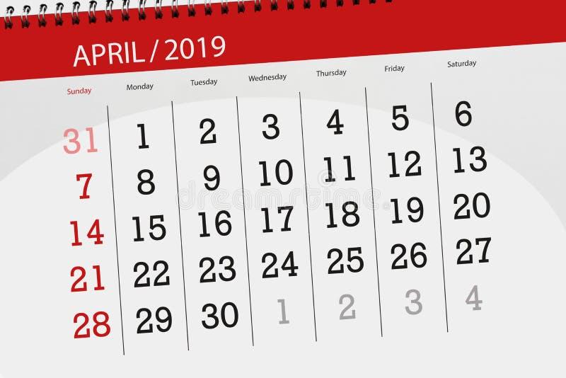 Плановик календаря на месяц апрель 2019, день крайнего срока иллюстрация вектора