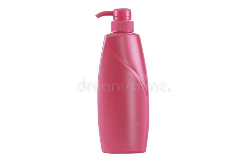 Пластичный шампунь бутылки изолированный на белой предпосылке - путях клиппирования стоковое изображение