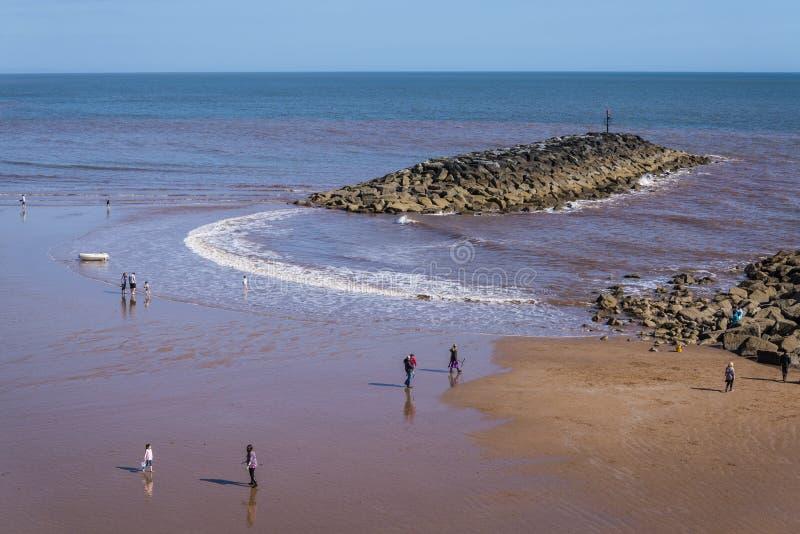 Пляж Sidmouth, восточный Девон, Англия, Великобритания стоковое изображение rf