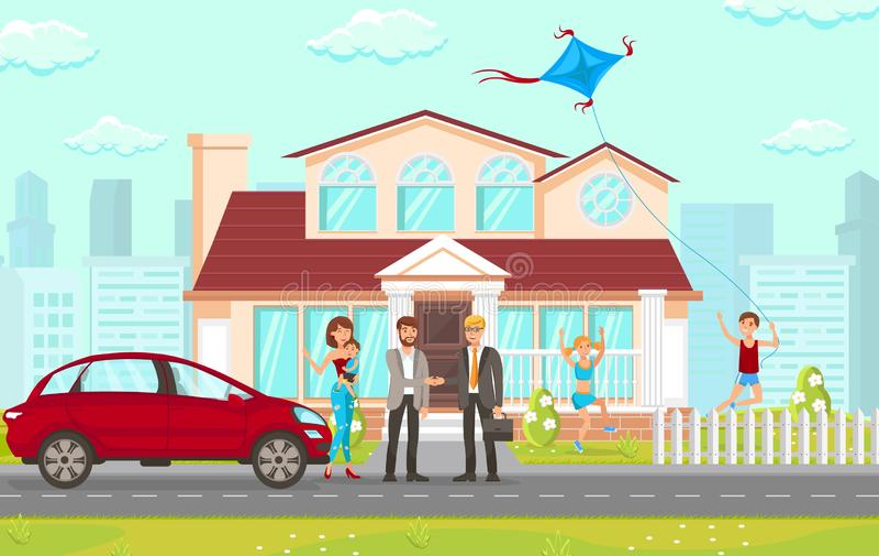 Плоская советуя с юридическая фирма в делах недвижимости иллюстрация вектора