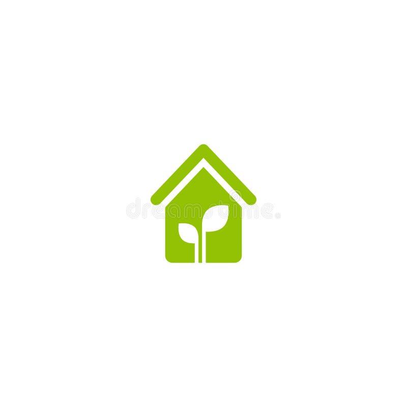 Плоский зеленый дом с зелеными лист внутрь Простой силуэт дома иллюстрация вектора
