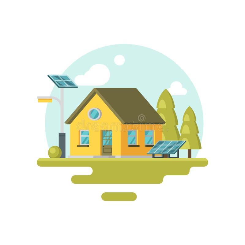 Плоский значок вектора милого желтого дома eco с панелями солнечных батарей и деревьями близко мимо альтернативная энергия Родной иллюстрация штока