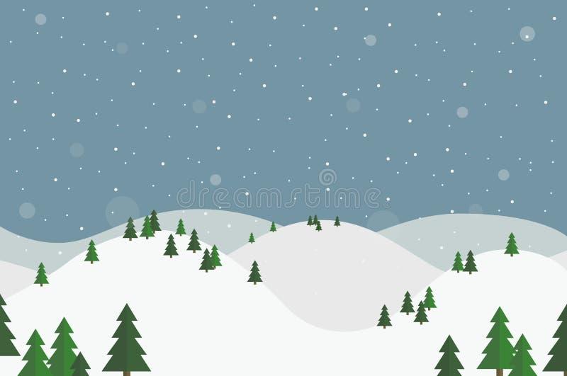 Плоский ландшафт зимы дизайна с белыми холмами, деревьями и падая снегом иллюстрация штока