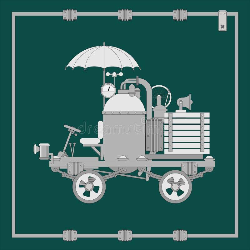 Плоский элемент сети steampunk, рамка techno, тележка с зонтиком и танк пара иллюстрация штока