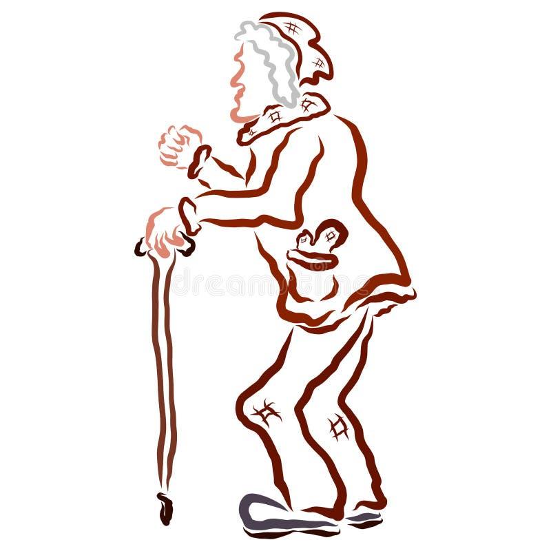 Плохой старик с костылем сердитым и кулаком шоу иллюстрация штока