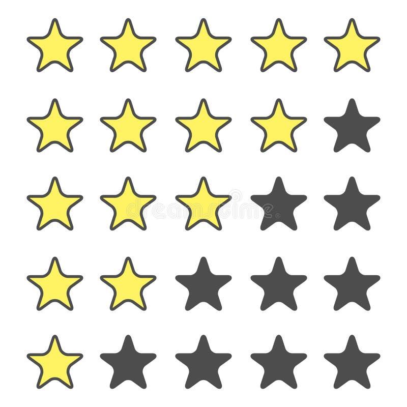 пятизвездочный классифицируя набор значка золотистые звезды Классифицировать звезд Изолированный значок для вебсайта или приложен иллюстрация вектора