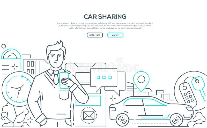 Публикация автомобиля - современная линия знамя сети стиля дизайна бесплатная иллюстрация