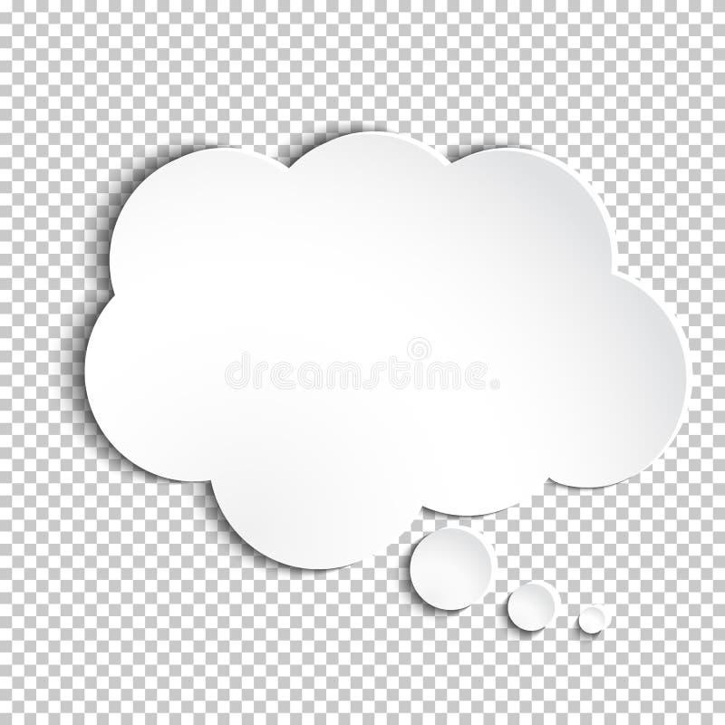 Пузырь мысли белой бумаги вектора иллюстрация штока