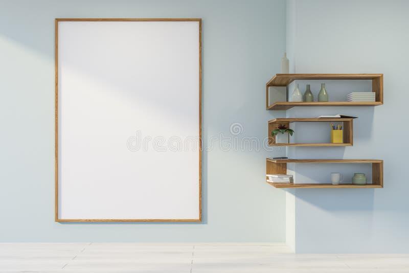 Пустая белая комната с плакатом и полками бесплатная иллюстрация