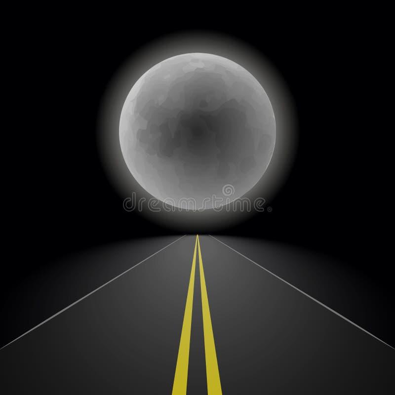 Пустая прямая дорога асфальта перспективы ночи протягивая в расстояние к горизонту на предпосылке большого полнолуния, иллюстрация вектора