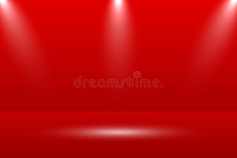 Пустая яркая предпосылка комнаты таблицы студии красного цвета Знамя для рекламирует продукт на вебсайте также вектор иллюстрации бесплатная иллюстрация