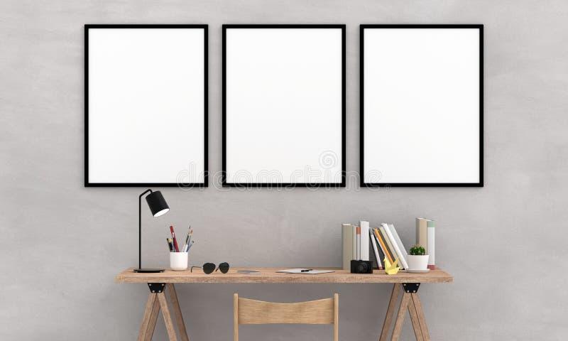 Пустая рамка фото 3 для модель-макета на стене, переводе 3D иллюстрация штока