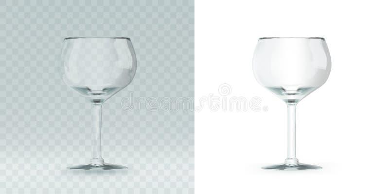 Пустое прозрачное 3D представило бокал для выпивая алкоголя иллюстрация штока