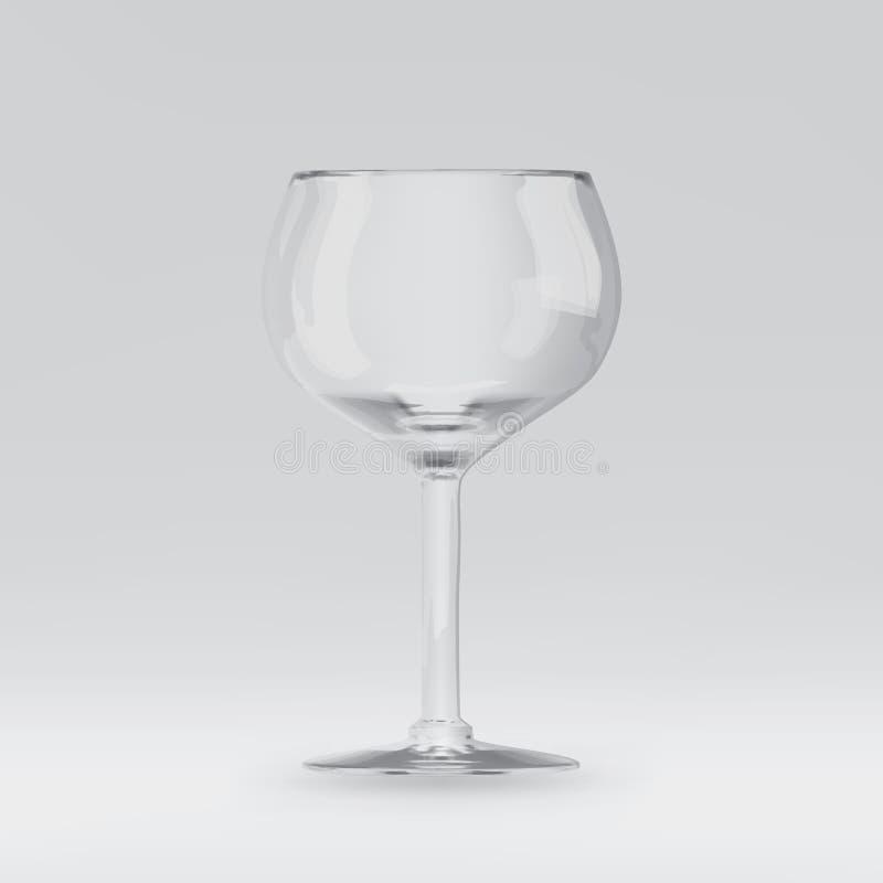 Пустое прозрачное 3D представило бокал для выпивая алкоголя бесплатная иллюстрация