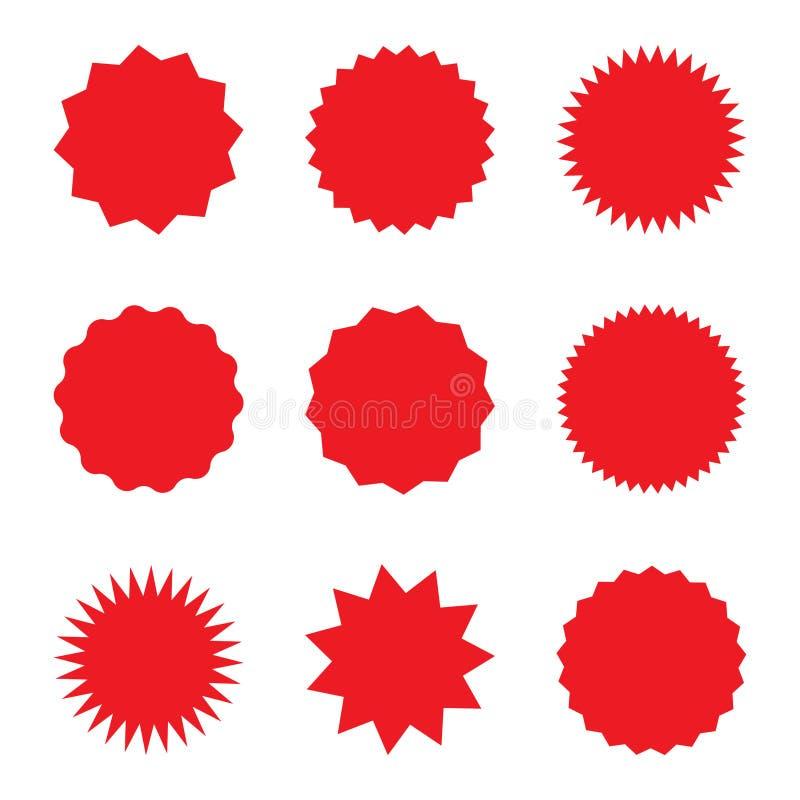 Пустой красный набор стикеров promo Starburst, график, sunburst, блеск, штемпель, украшение, солнечность, символ яркого блеска бесплатная иллюстрация