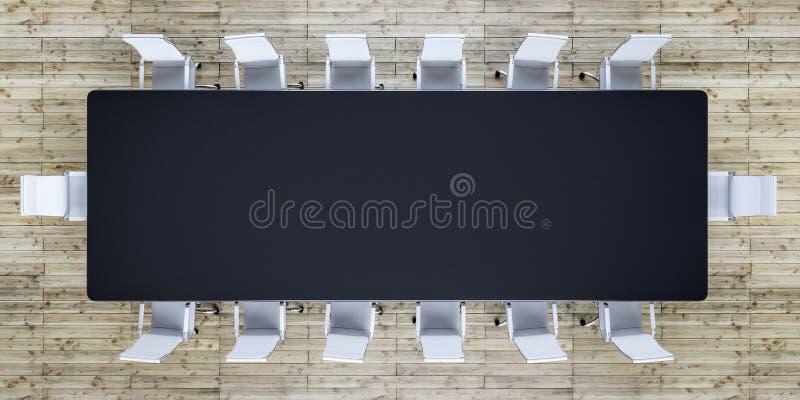 Пустой конференц-зал с черной таблицей и белыми стульями бесплатная иллюстрация