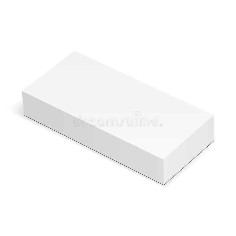 Пустой прямоугольный модель-макет коробки изолировал иллюстрация штока
