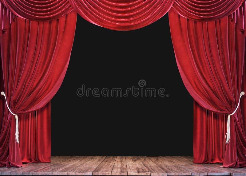 Пустой этап театра с деревянным полом планки и открытыми красными занавесами стоковая фотография rf