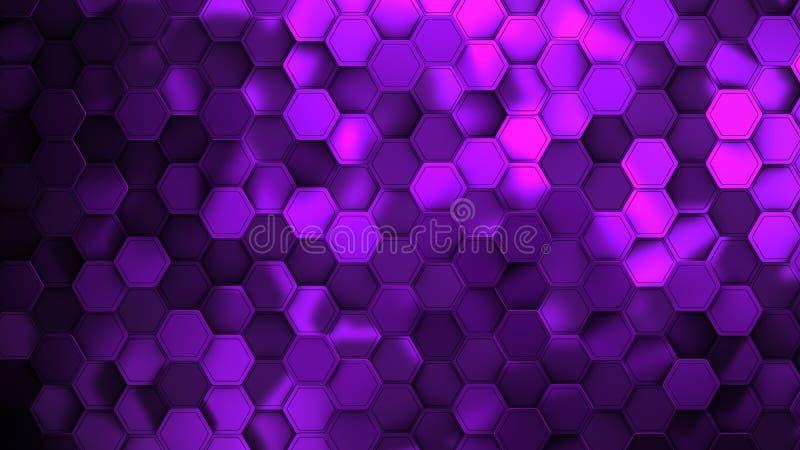 Пурпурная абстрактная предпосылка с иллюстрацией bokeh современной, 3d представить иллюстрация штока