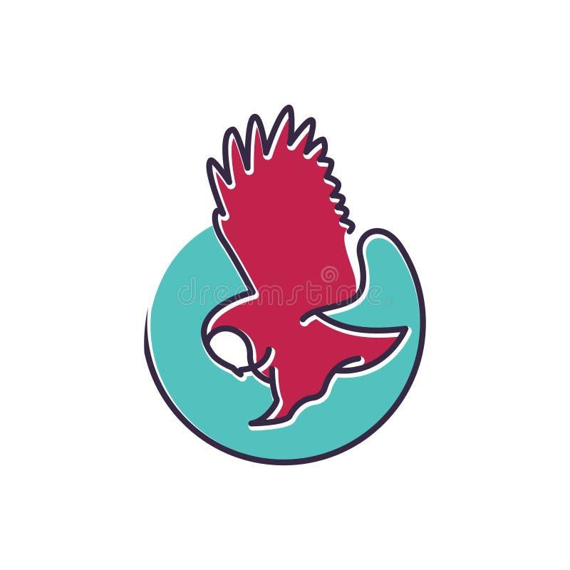 Птица сыча атакуя на иллюстрации логотипа добычи крутой бесплатная иллюстрация