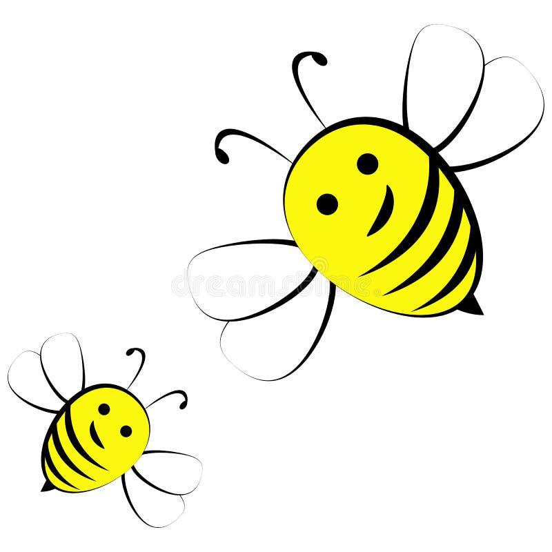 Пчелы меда изолированные на белой предпосылке иллюстрация вектора