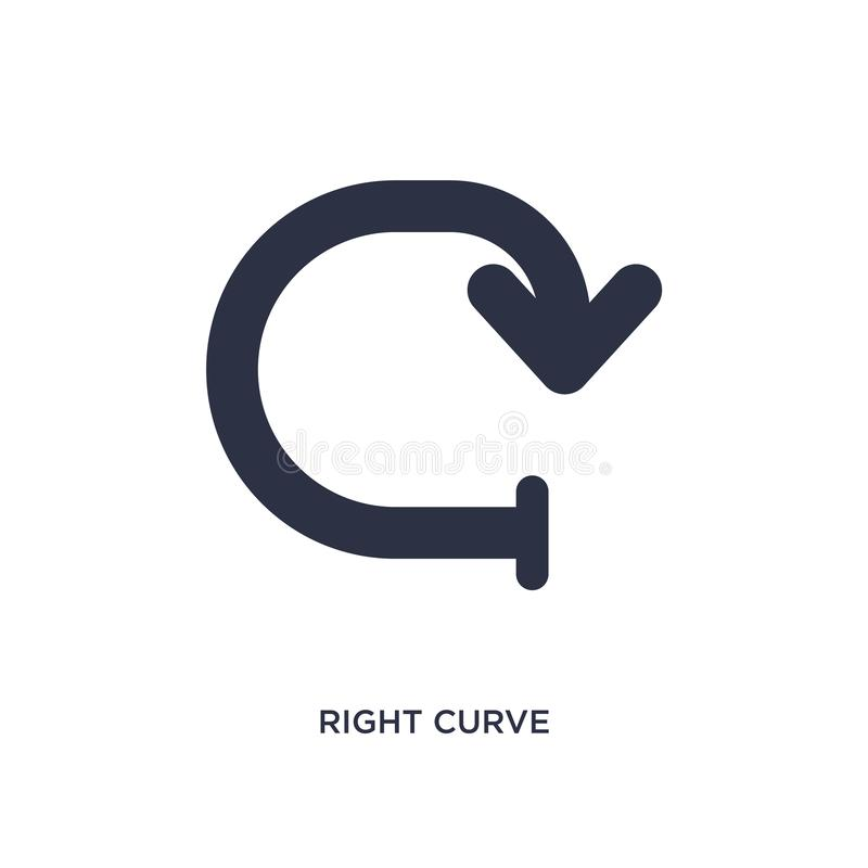 правый значок кривой на белой предпосылке Простая иллюстрация элемента от концепции стрелок иллюстрация штока