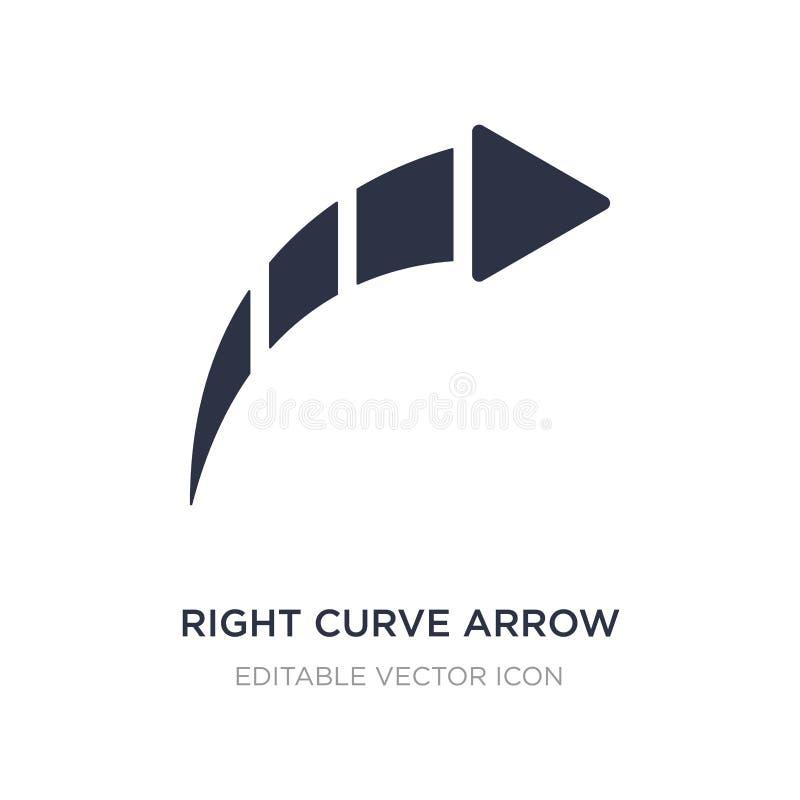 правый значок стрелки кривой на белой предпосылке Простая иллюстрация элемента от концепции UI иллюстрация штока