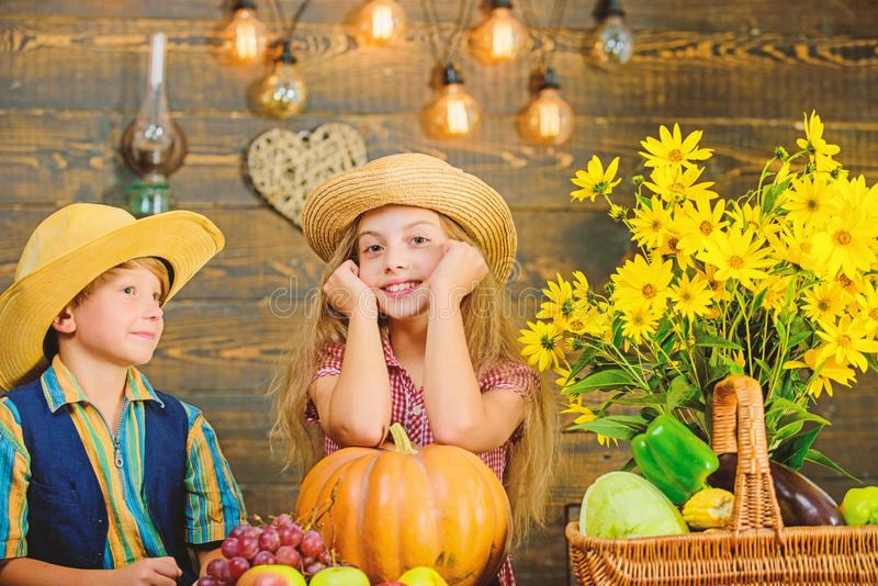 Праздник фестиваля школы Идея фестиваля падения начальной школы Шляпа носки мальчика девушки детей празднует фестиваль сбора дере стоковые фотографии rf